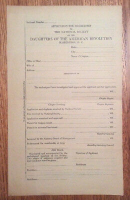 DAR Daughters of the American Revolution 192_  Application for Membership