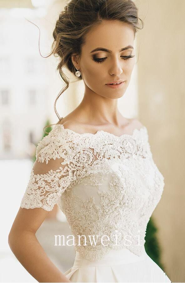 09813b0f163 Details about Ivory Wedding Jackets Lace Off-the-shoulder Short Sleeve  Bridal Bolero Wraps New