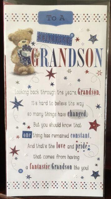 To A Brilliant Grandson Birthday Card - Wordy Versey Birthday Greetings Card