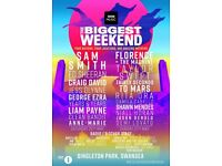 2 x SUNDAY Biggest Big Weekend tickets. Pot 2, real tickets