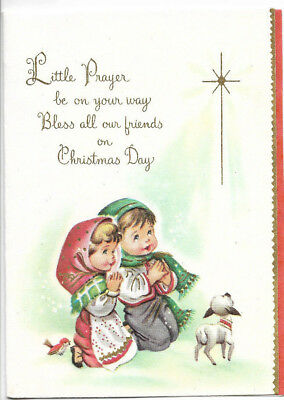 Vintage Little Children Kneeling in Prayer Christmas Card