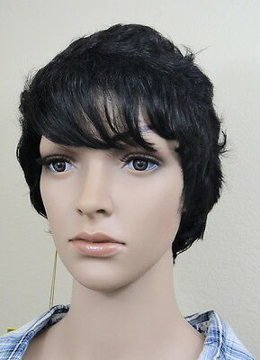 Rocky Wig (SAM SUNG IMEX #1B off black 100% human short cut with wave hair Full)