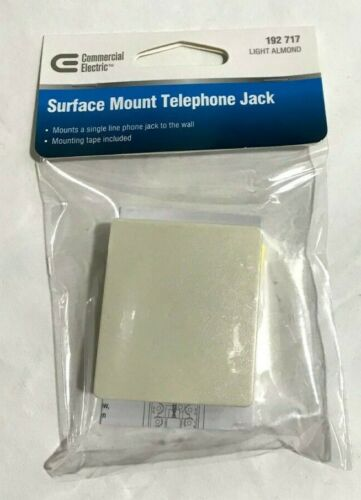 (Case of 250) NEW RJ11 6P4C Phone Line Jack Modular Surface Mount Box Lt Almond