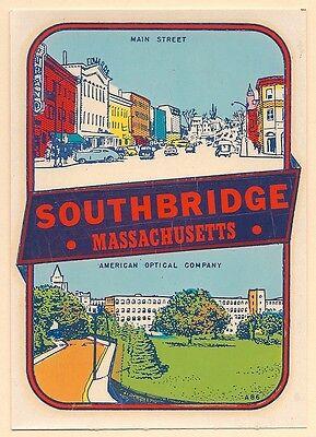 "VINTAGE ORIGINAL 1946  MAIN STREET ""SOUTHBRIDGE MASSACHUSETTS"" TRAVEL DECAL ART"
