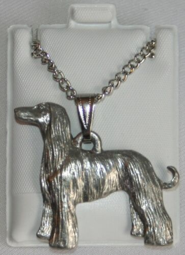 Afghan Hound Dog Harris Fine Pewter Pendant w Chain Necklace USA Made