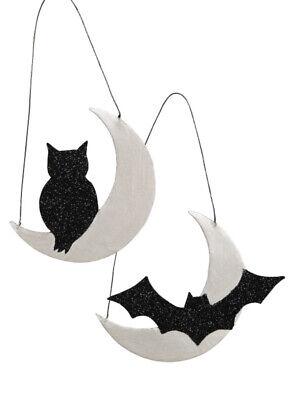 Bethany Lowe Halloween Over the Moon Tin Ornaments--Bat & Black Cat—Set Of 2
