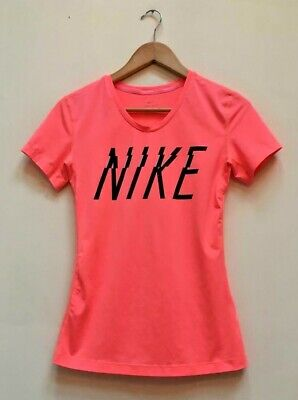 Ladies Nike Pro Dri Fit Pink Short Sleeve Running Sports Fitness Gym Top Medium for sale  Shipping to Nigeria