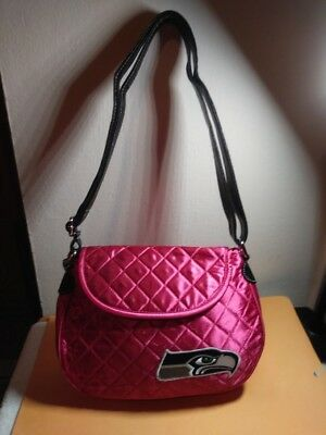 SEATTLE SEAHAWKS NFL PINK/FUCHSIA SATIN SHOULDER BAG NEW WITH TAGS](Pink Seahawks)