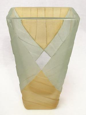 Rebecca Odom Sandblasted Art Glass Yellow & Clear Glass Vase, Signed 1995