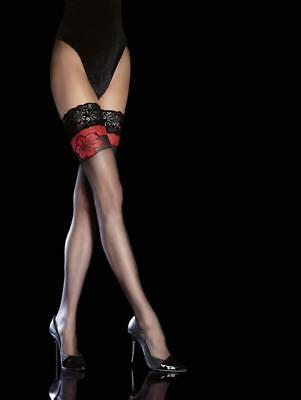 Rose Stocking - FIORE YARA ROSE STAY UP THIGH HIGH STOCKINGS FINE EUROPEAN  3 SIZE BLACK 20 DEN