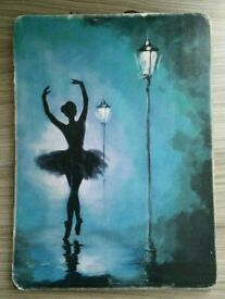 Beautiful teal and black silhouette ballerina picture