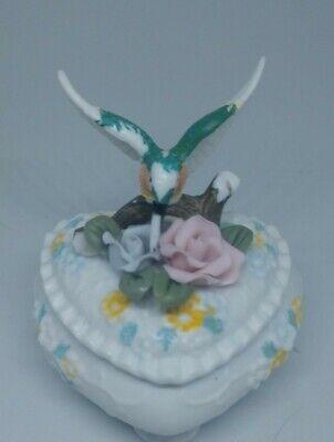 Porcelain Bisque Jewelry Trinket Box Hummingbird Heart Shaped Capodimonte Flower