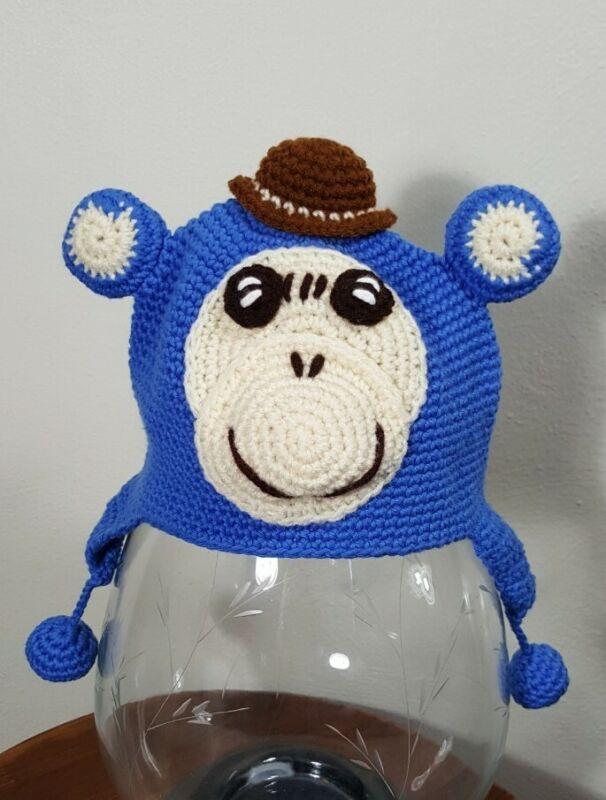Handmade Knit Baby Beanie 100% cotton 0-6 months monkey