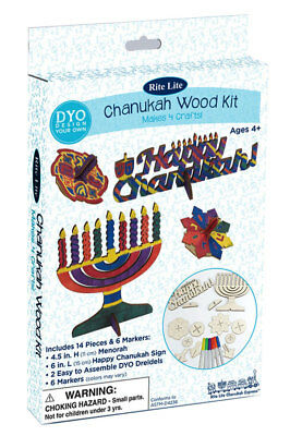 Chanukah Wood Craft Kit - Hanukkah Gift - Menorah Dreidel