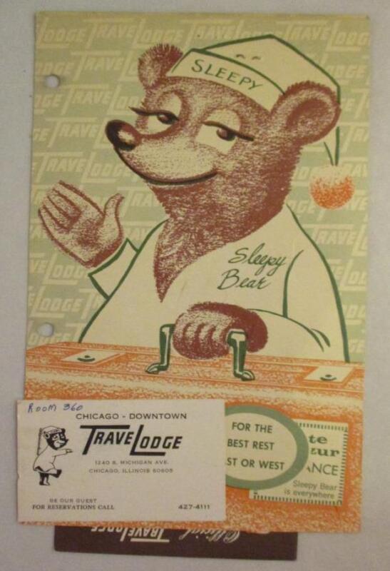Vtg Travelodge Sleepy Bear Brochure Souvenir Chicago IL Michigan Ave RARE