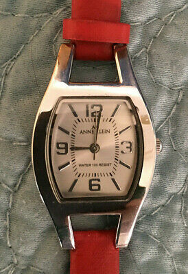 Anne Klein Rectangle Quartz Ladies Water Resistant Watch Red Leather Band Works