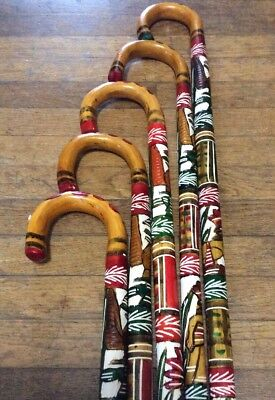 """(1) Colorful Hand Painted Mexican Carved Wooden Cane Walking Stick Aztec 36"""""""