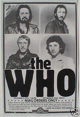 THE WHO 1979 PITTSBURGH CONCERT TOUR POSTER-Townshend, Daltrey, Entwistle, Jones
