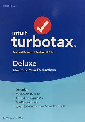 New Sealed Intuit Turbotax Deluxe 2016 Federal Only  No State  Turbo Tax