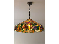 Large floral Tiffany hanging ceiling lamp shade