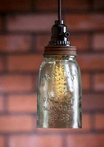 Primitive One Quart Rustic Open Bottom Mason Jar Hanging Pendant Lamp Light