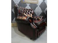 Refurbished Chesterfield Spoon Back Monk Chair in Oxblood Red Leather - Uk Delivery