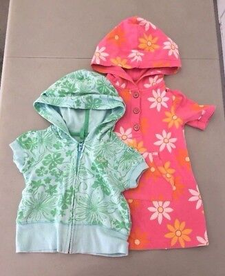 Zip Front Shirt Mädchen (Lot Of 2 BABY GAP Hoodie Short Sleeve Zip Front Shirt Top, 2T - Pink, Aqua Green)