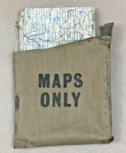 WWII SILK ESCAPE MAP w/ POUCH DOUBLE SIDED SHEET C D GERMANY BELGIUM FRANCE HOLL