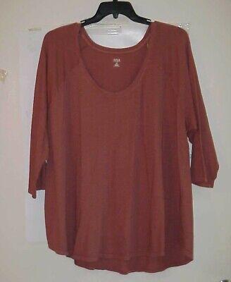 Women's A.N.A Dusty Copper 3/4 sleeve Top Shirt Plus Size 3X NWT