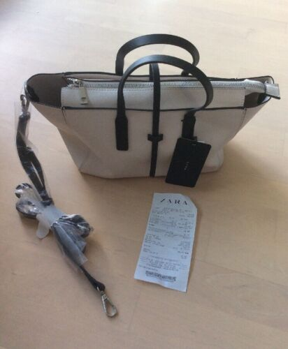 Handtasche Shopper Bag Beuteltasche hell/schwarz NEU 2 Henkel u Schulterr. ZARA