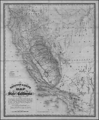 1883 CA Map Bermuda Dunes Big Bear City Lake Bret Harte CALIFORNIA History  HUGE