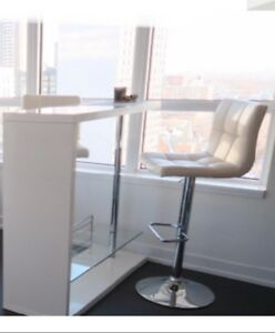 Bar Table and 2 adjustable leather bar stools