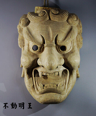 23*16*10 CM Hand Carved Japanese Noh Kyougen Fudo Myoo MASK-QH015