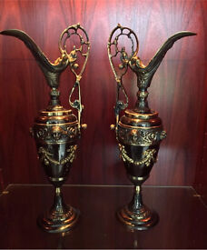 Beautifully decorated brass jugs (2)