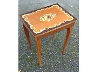 inlaid italian style side table sewing crafts table