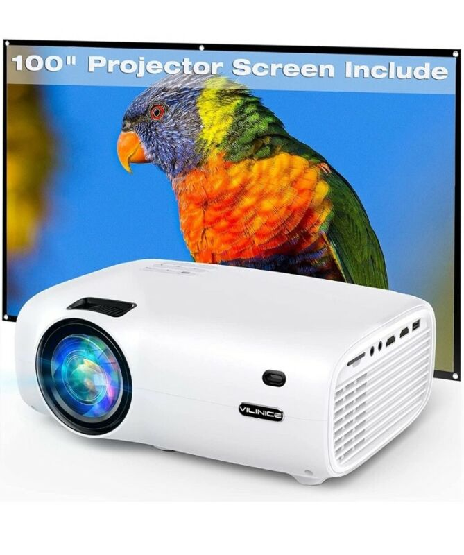 Mini Projector, VILINICE 6000L Outdoor Movie Projector with 100 Inch Projector S