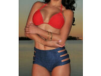 Red and Jeans Blue High-waisted Bikini Swimsuit size 8 NEW