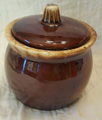 Vtg Hull Brown Drip Glaze USA Ovenproof Covered Sugar Mustard Jar Pot Dish Bowl