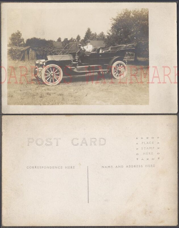 Vintage Car Photo Postcard Man in 1900s Mystery Touring Automobile 699487