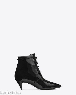 Yves Saint Laurent Cat 50 Lace Up Patent Black Ankle Boots Booties 39.5 9.5