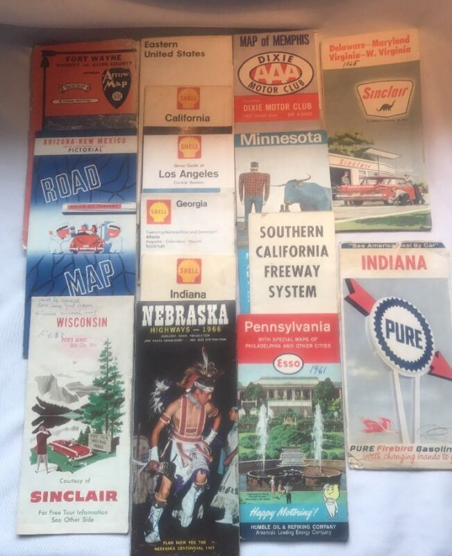 Lot Of 15 Vintage Travel Road Maps USA Gas Stations 1960s (L6)