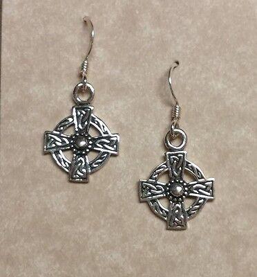 Sterling silver Irish Celtic Cross Earrings