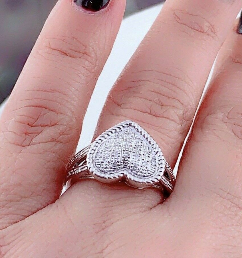 Natural Diamond Full Heart Ring in Sterling Silver Sz 7  #62