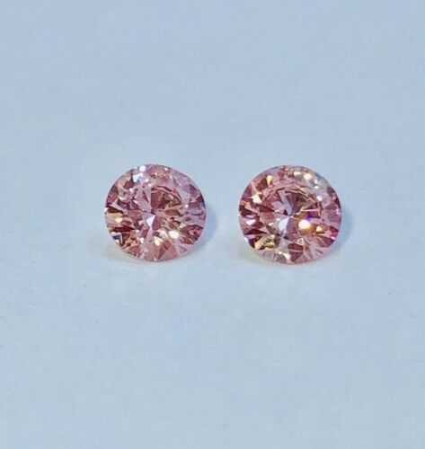MATCHING PAIR OF TWO PINK LAB GROWN DIAMOND STUDS 0.80 TCW CVD / HPHT VS2