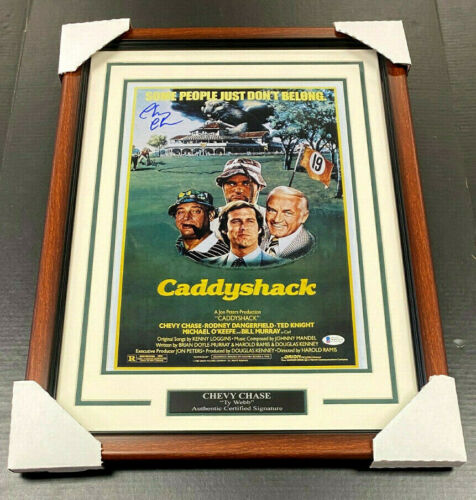CHEVY CHASE CADDYSHACK 11X17 SIGNED AUTOGRAPHED MOVIE POSTER FRAMED BAS COA