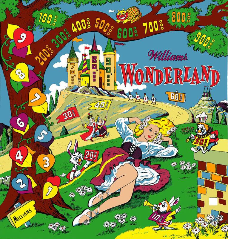 Williams 1955 WONDERLAND Pinball Machine Replacement BACKGLASS AWESOME ARTWORK