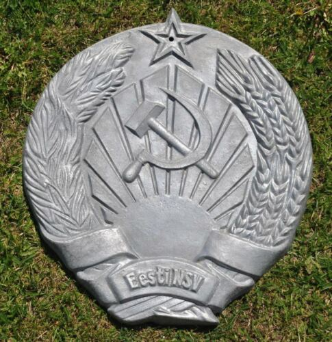 1960s Soviet Russia Communist Propaganda MASSIVE USSR Coat-of-Arms Sign Plaque