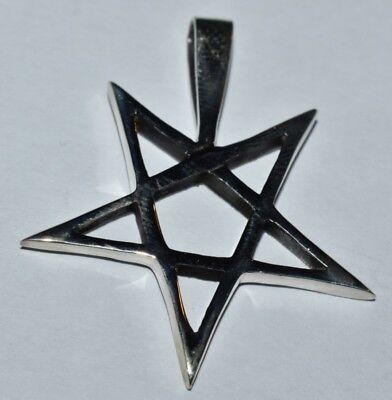 Amulett, Anhänger umgedrehtes Pentagramm, 925er Silber
