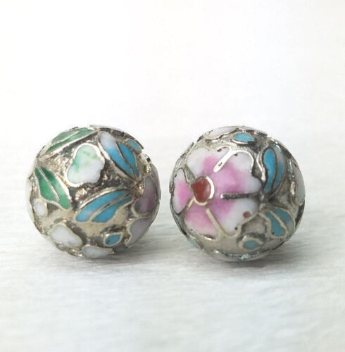 Vintage Pink Flowers Silver Champleve Cloisonne Chinese Enamel 14mm  2PCs