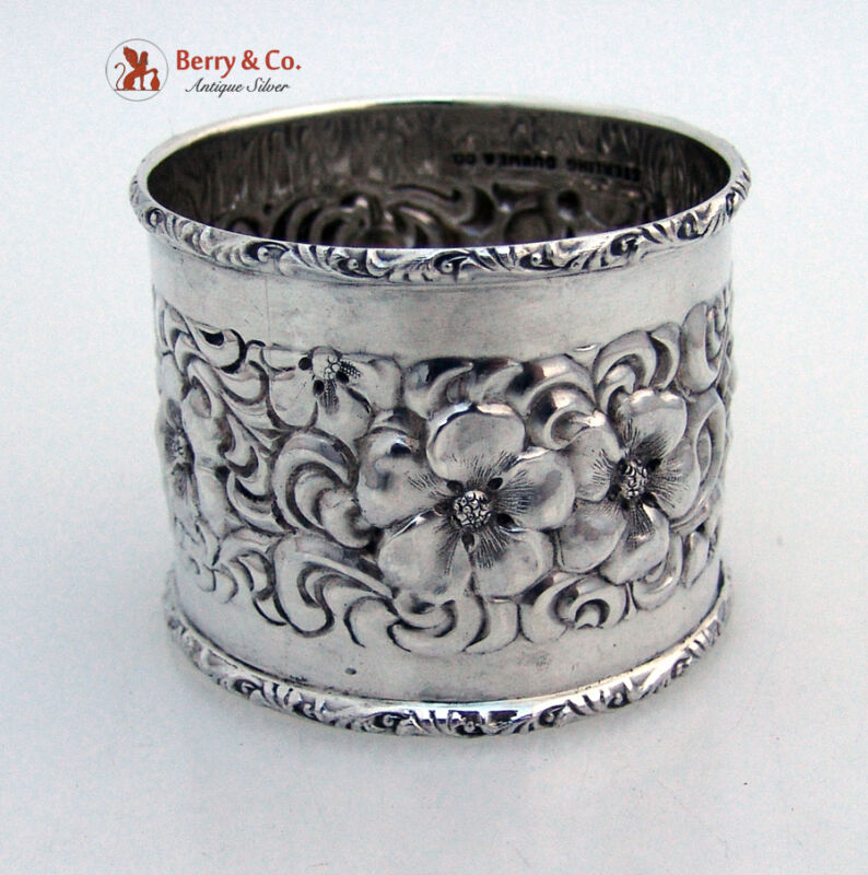 Beautiful Floral Repousse Napkin Ring Sterling Silver Duhme 1880